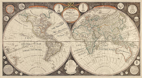 Wall Art - Drawing - Antique Map Of The World By Thomas Kitchen - 1799 by Blue Monocle