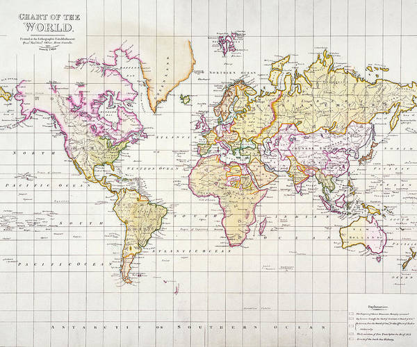 Territory Painting - Antique Map Of The World by James The Elder Wyld