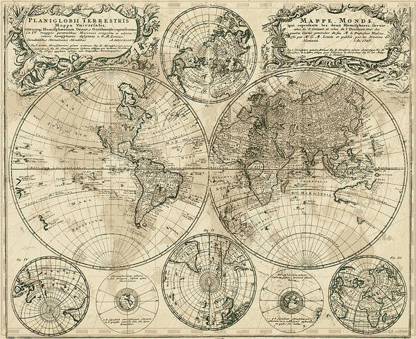 Digital Art - Antique Map Of The World by Serge Averbukh
