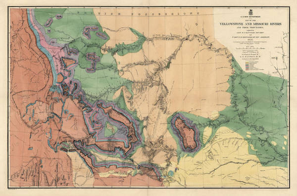 Geologic Drawing - Antique Map Of The Yellowstone And Missouri Rivers By F. V. Hayden - 1869 by Blue Monocle