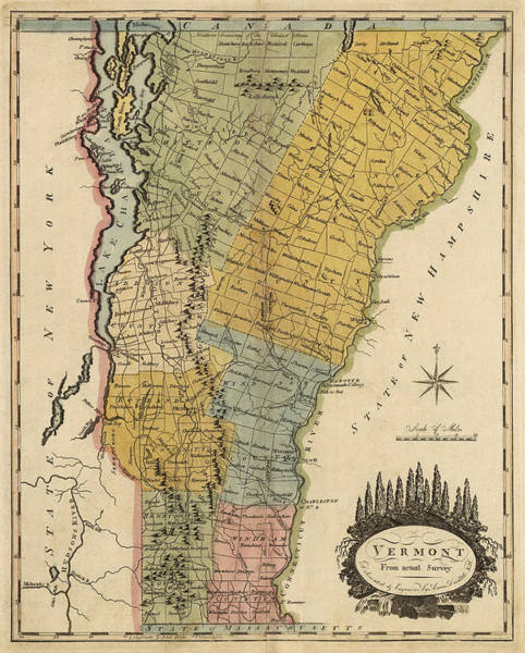 Vintage Map Drawing - Antique Map Of Vermont By Mathew Carey - 1814 by Blue Monocle