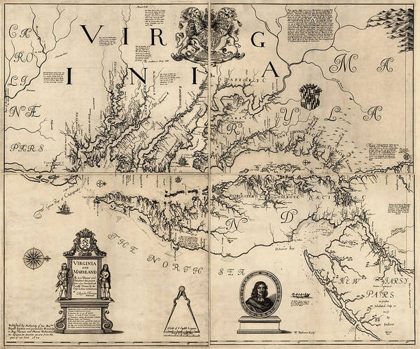 Wall Art - Drawing - Antique Map Of Virginia And Maryland By Augustine Herrman - 1673 by Blue Monocle