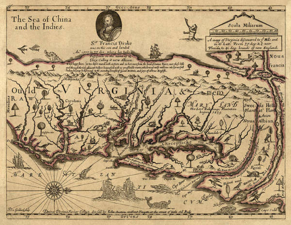 Atlantic Drawing - Antique Map Of Virginia And Maryland By John Farrer - Circa 1667 by Blue Monocle
