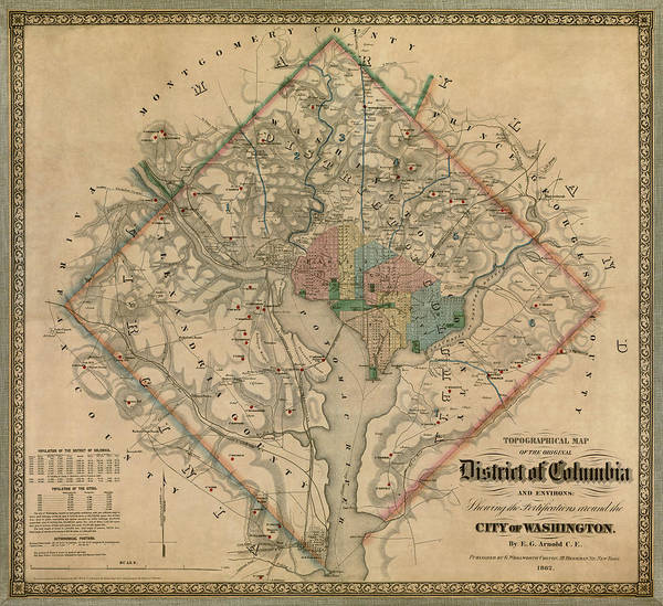 Vintage Wall Art - Drawing - Antique Map Of Washington Dc By Colton And Co - 1862 by Blue Monocle