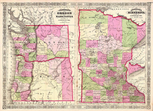 Minnesota Drawing - Antique Map Of Washington Oregon And Minnesota 1864 by Mountain Dreams