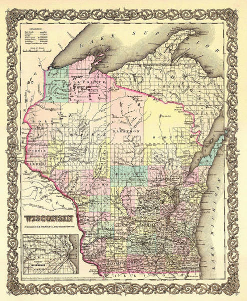 Collectible Art Drawing - Antique Map Of Wisconsin 1855 by Mountain Dreams