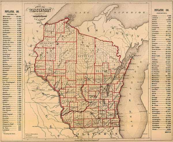 Collectible Art Drawing - Antique Map Of Wisconsin With Populations 1866 by Mountain Dreams