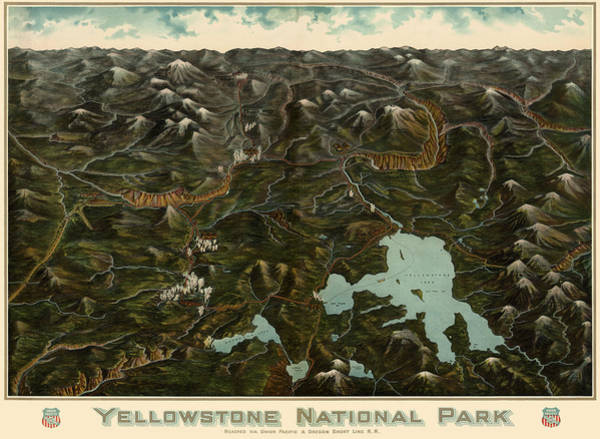 Montana Drawing - Antique Map Of Yellowstone National Park By The Union Pacific Railroad Co. - Circa 1900 by Blue Monocle