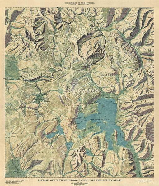 Montana Drawing - Antique Map Of Yellowstone National Park By The Usgs - 1915 by Blue Monocle