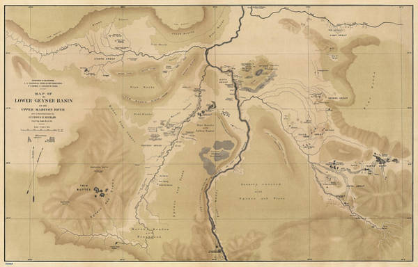Montana Drawing - Antique Map Of Yellowstone National Park - Lower Geyser Basin - 1872 by Blue Monocle