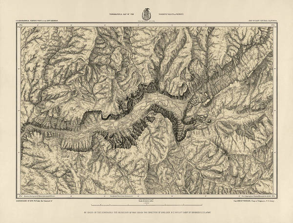 Wall Art - Drawing - Antique Map Of Yosemite National Park By George M. Wheeler - Circa 1884 by Blue Monocle