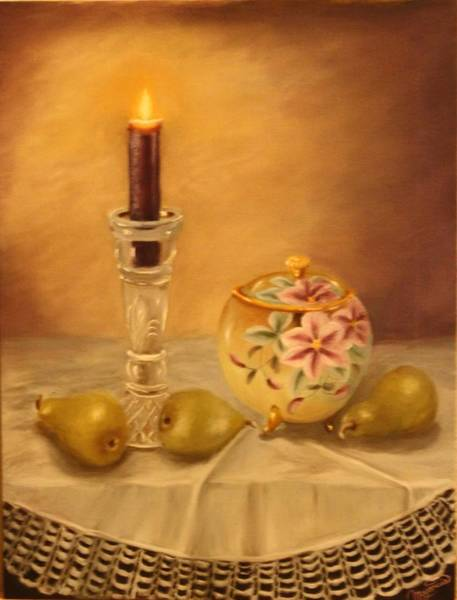 Lid Painting - Antique Nippon In Candle Light by Lou Magoncia