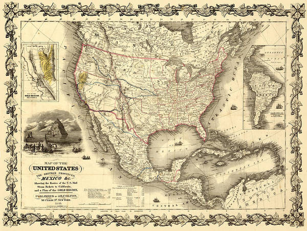 Mapping Digital Art - Antique North America Map by Gary Grayson