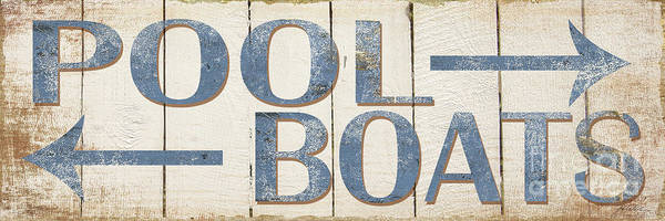 Pool Painting - Antique Pool Boat Sign by Grace Pullen