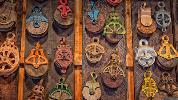 Photograph - Antique Pulleys by Bill Wakeley