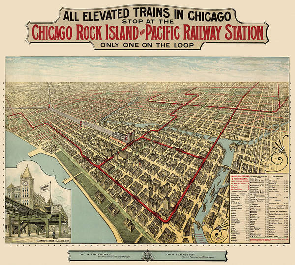 Vintage Chicago Drawing - Antique Railroad Map Of Chicago - 1897 by Blue Monocle
