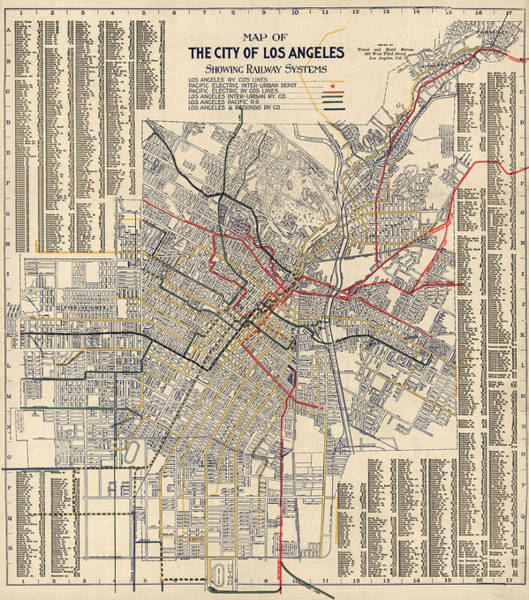 Trains Drawing - Antique Railroad Map Of Los Angeles - 1906 by Blue Monocle