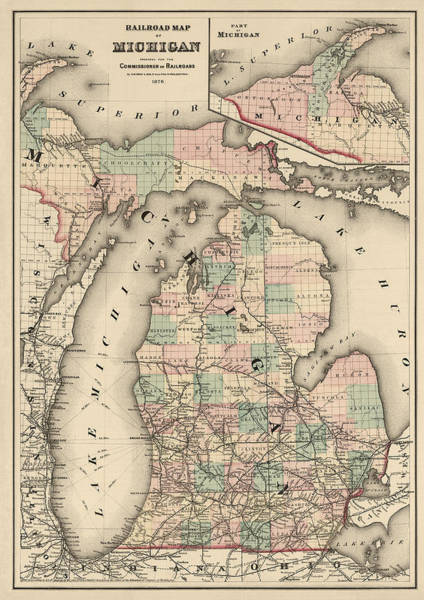 Wall Art - Drawing - Antique Railroad Map Of Michigan By Colton And Co. - 1876 by Blue Monocle