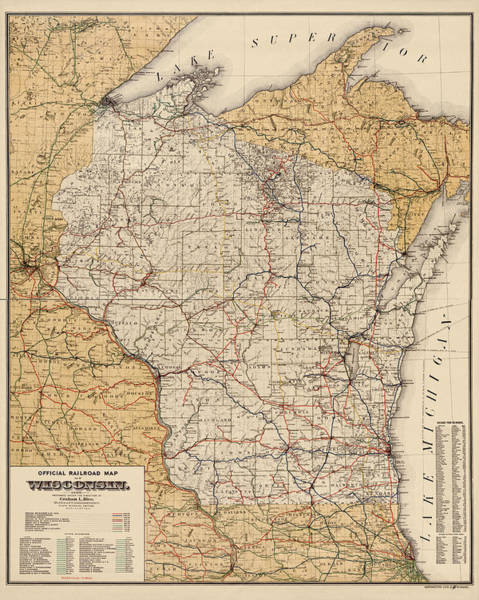 Wall Art - Drawing - Antique Railroad Map Of Wisconsin - 1900 by Blue Monocle
