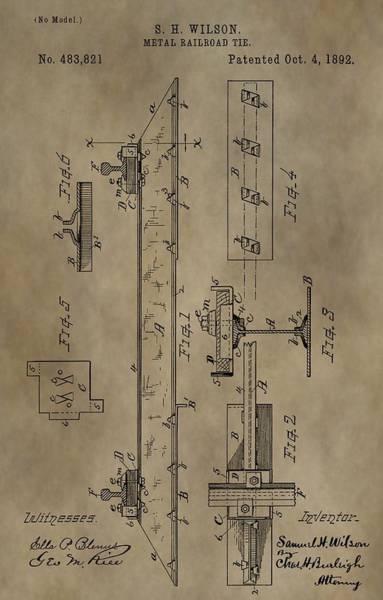Digital Art - Antique Railroad Tie Patent by Dan Sproul
