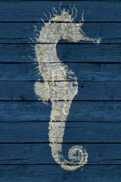 Wall Art - Digital Art - Antique Seahorse On Blue I by Patricia Pinto