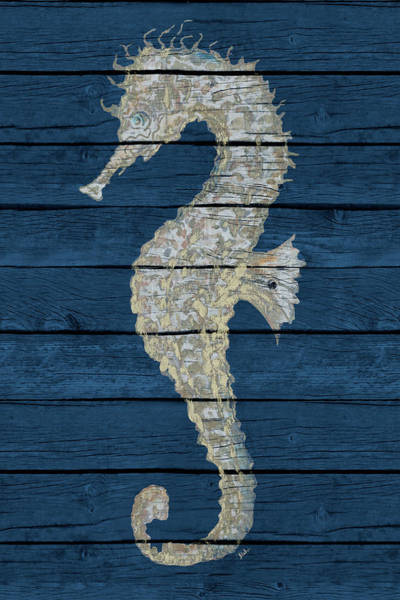 Wall Art - Digital Art - Antique Seahorse On Blue II by Patricia Pinto