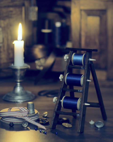 Light Box Photograph - Antique Sewing Items by Amanda Elwell