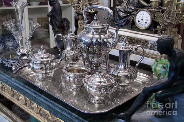 Photograph - Antique Silver Tea Set by Gunter Nezhoda