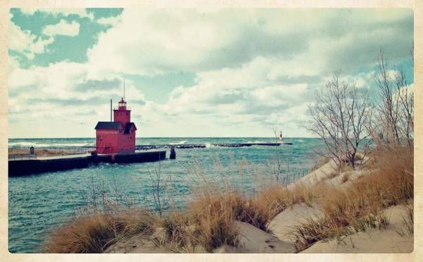 Holland State Park Photograph - Antique Snapshot Series - Big Red by Michelle Calkins