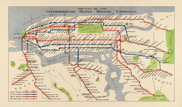 Wall Art - Drawing - Antique Subway Map Of New York City - 1924 by Blue Monocle