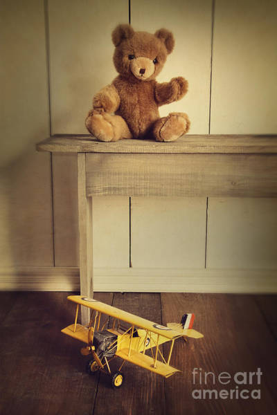 Photograph - Antique Toys On Wooden Bench With Vintage Look by Sandra Cunningham