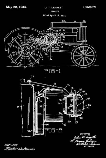 Digital Art - Antique Tractor Patent by Dan Sproul