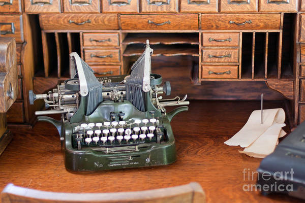 Photograph - Antique Type Writer On Desk by Gunter Nezhoda