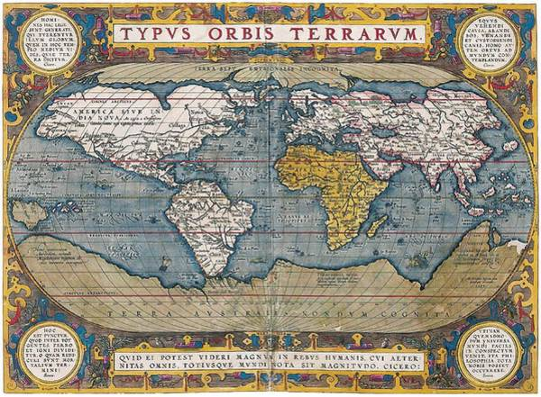 Wall Art - Drawing - Antique World Map Circa 1570 by L Brown