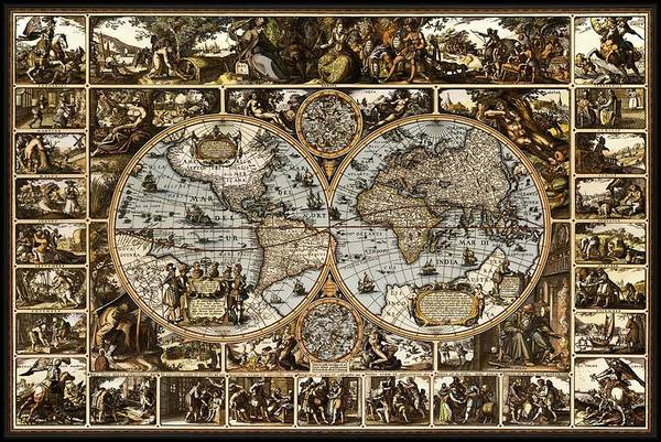 Wall Art - Drawing - Antique World Map Circa 1670 II by L Brown