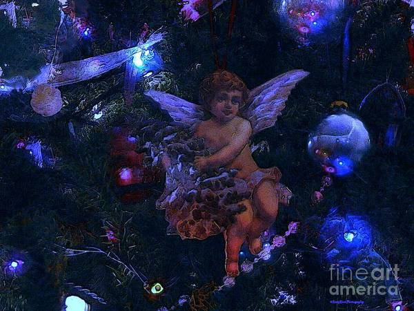 Antiqued Angel Blue Art Print by Roxy Riou