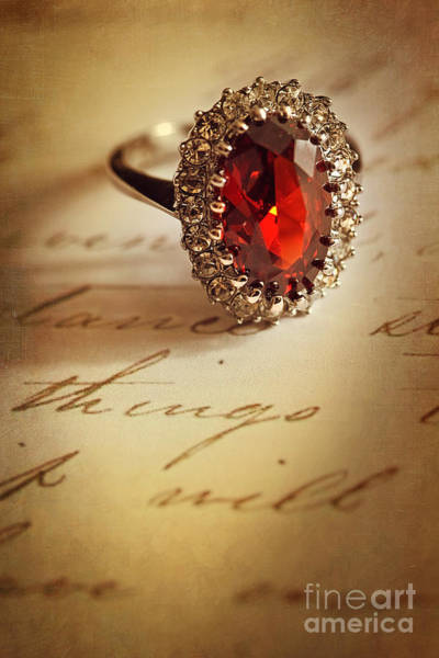 Photograph - Antiqye Ring On Letter by Sandra Cunningham