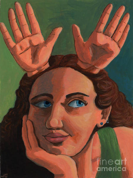 Painting - Antlered Girl by Whitney Morton