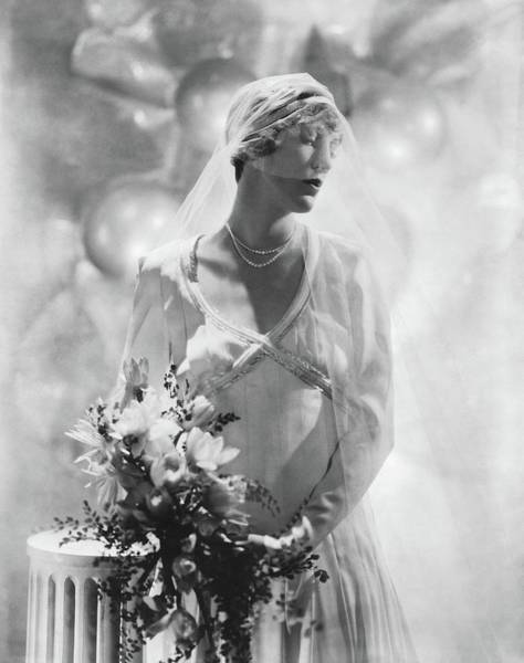 Wedding Bouquet Photograph - Antoinette Frissell In Her Wedding Dress by Horst P. Horst