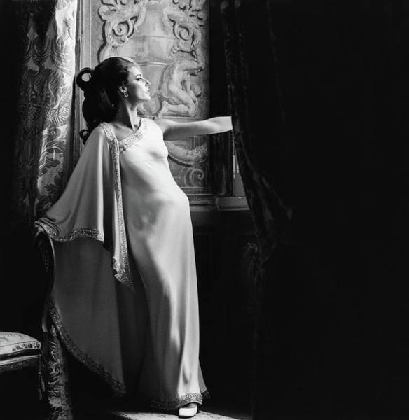 Evening Gown Photograph - Antonella Agnelli In The Palazzo Doria In Rome by Henry Clarke