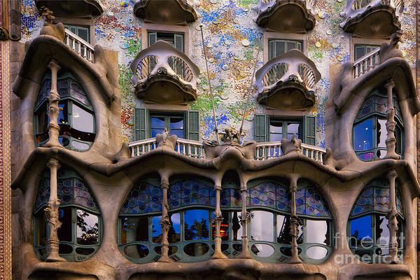 Shutters Photograph - Antoni Gaudi Casa Batllo Facade by George Oze