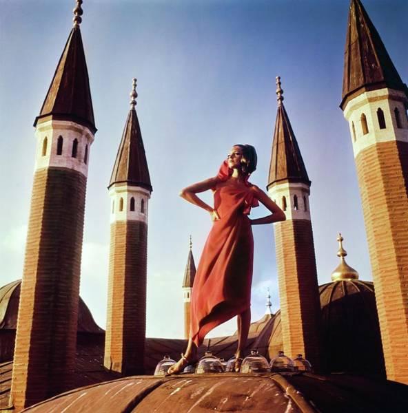 Residence Photograph - Antonia Boekesteyn Wearing A Red Dress by Henry Clarke