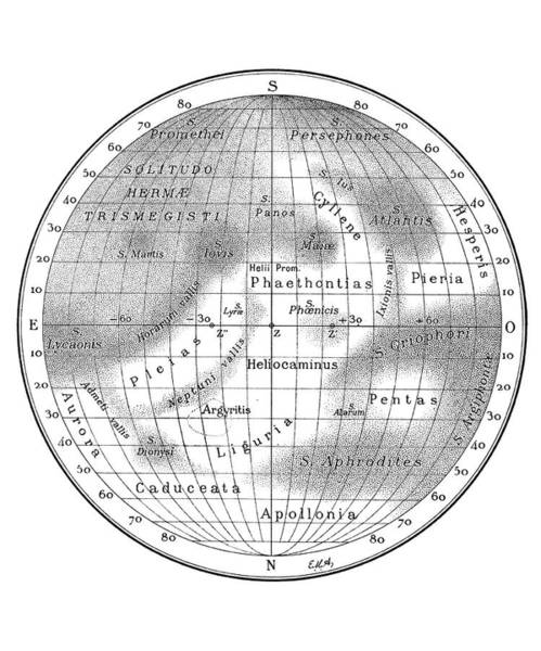 Synchronous Rotation Wall Art - Photograph - Antoniadi's Map Of Mercury by Royal Astronomical Society/science Photo Library
