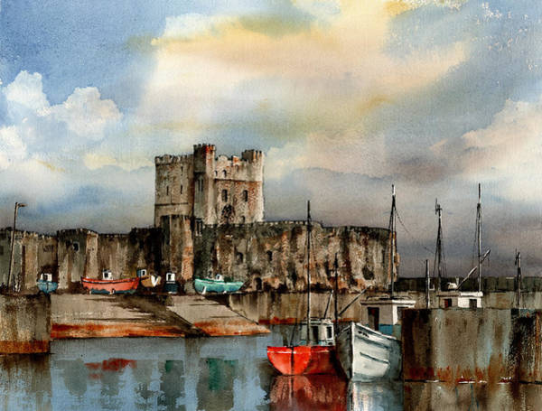 Mixed Media - Antrim  Carrigfergus Castle by Val Byrne