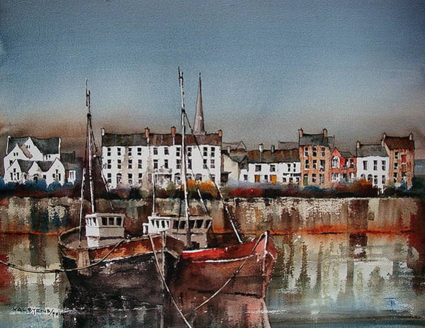 Mixed Media - Antrim Carrigfergus Harbour by Val Byrne