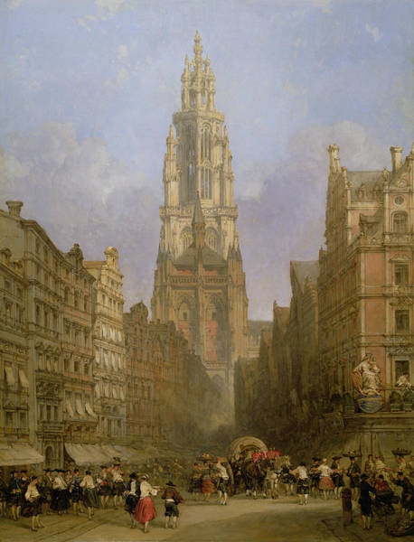 Townscape Wall Art - Photograph - Antwerp Cathedral, 1860 Oil On Canvas by David Roberts