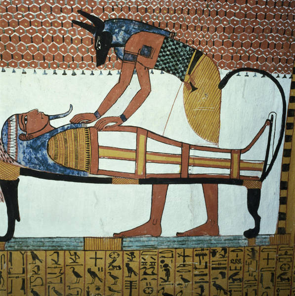 Burial Wall Art - Photograph - Anubis And A Mummy, From The Tomb Of Sennedjem, The Workers Village, New Kingdom Mural See by Egyptian 19th Dynasty
