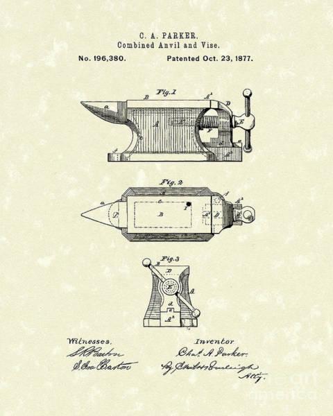Drawing - Anvil/vise 1877 Patent Art by Prior Art Design