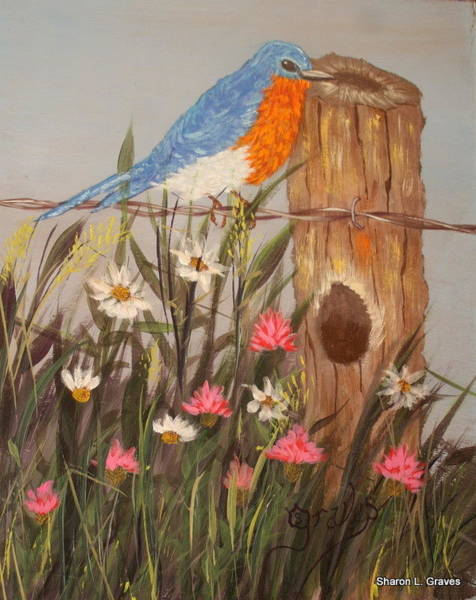 Fencepost Painting - Anyone Home by Sharon Graves