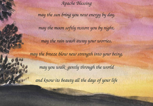 Apache Blessing With Sunset Art Print